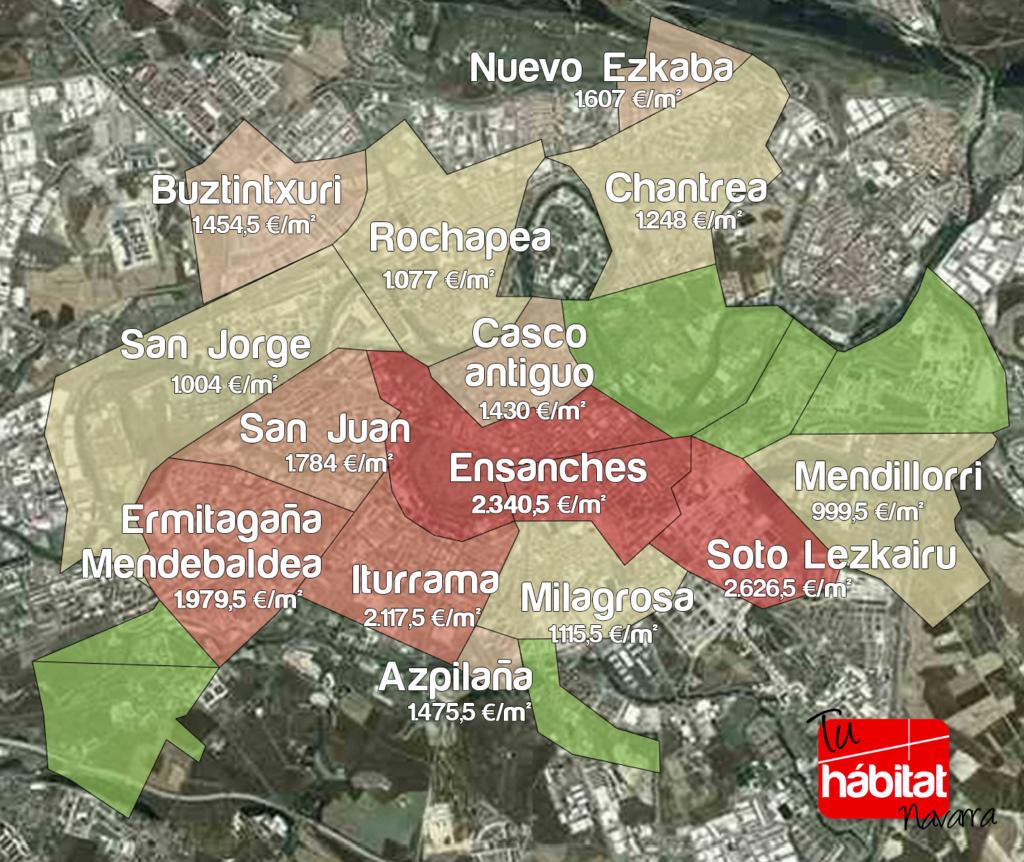 Mapa precios pisos barrios Pamplona 2018